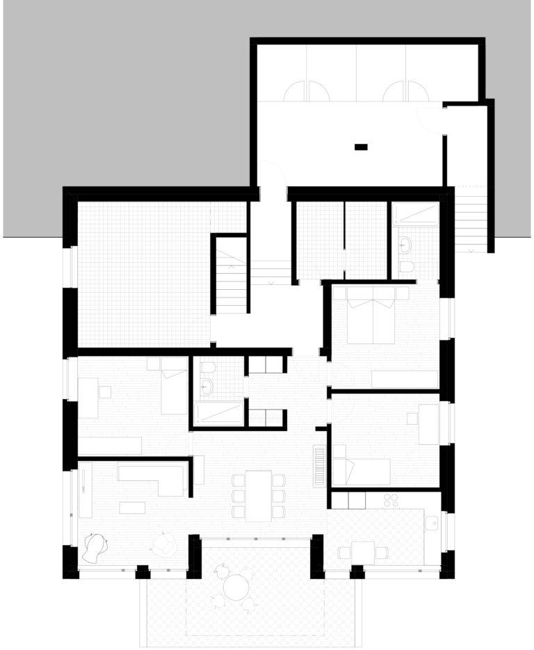 Gartenwohnung im Sockelgeschoss